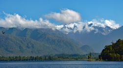 Lake Mapourika view of snow topped mountains