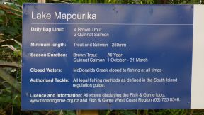 Lake Mapourika fishing limits rules