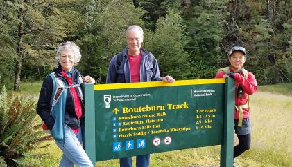 Routeburn track sign New Zealand
