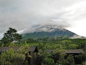 Arenal volcano in Costa Rica in the clouds