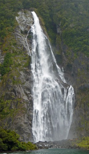 One of many amazing waterfalls in Milford Sound