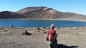 Tongariro Alpine Crossing - Wendy sitting in front of Blue Lake