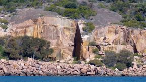 Abandoned granite quarry in Freycinet, as seen from Wineglass Bay Cruise