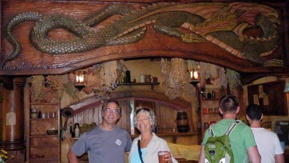 Hobbiton Green Dragon Inn wood carving