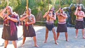 Tamaki Maori Village warriors guarding entrance