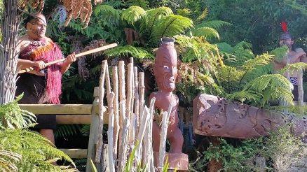 Tamaki Maori Village warriors guarding entrance