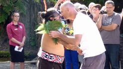 Tamaki Maori Village greeting and peace offering ceremony