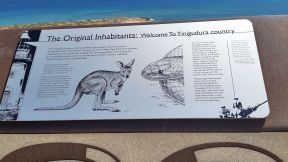 Exmouth Vlaming Head Lighthouse Ningaloo Coast information signs for original inhabitants