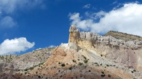 Colorful rock formations at Georgia O'Keeffe's Ghost Ranch near Abiquiu New Mexico