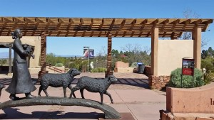 Sculpture in front of Museum of Indian Art and Culture in Santa Fe New Mexico