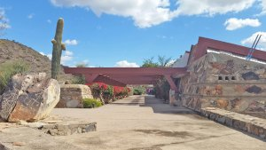 Taliesin West - Walkway. Frank Lloyd Wright's touch with angled shapes and walls made with local materials