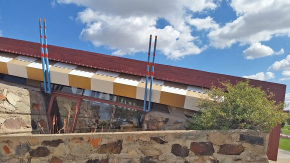 Taliesin West - Angled roof, natural local materials, earth-tone accents
