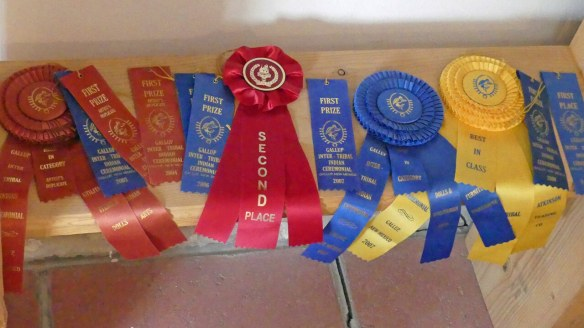 Prize ribbons for various artwork