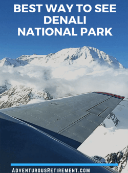 Aerial view of mountain peaks in Denali National Park, viewed from Denali Air aircraft
