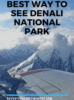 Aerial view of mountains and glaciers in Denali National Park