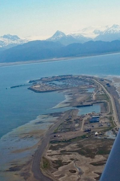 Flying over Homer Spit on Wilderness Bear Viewing and Flightseeing Tour in Alaska National Park