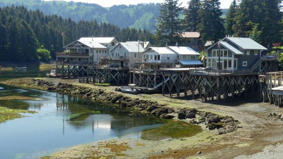 Houses on stilts in Seldovia,-from-Homer-10-day-self-guided-alaska-kenai-peninsula-itinerary