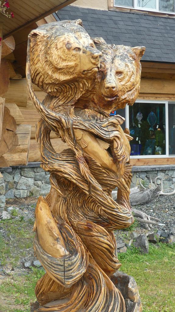 10-day self-guided Alaska Kenai-Peninsula itinerary-ntricate wood carved sculpture of iconic Alaskan animals-bucket-list 10-day self-guided Alaska Kenai-Peninsula itinerary