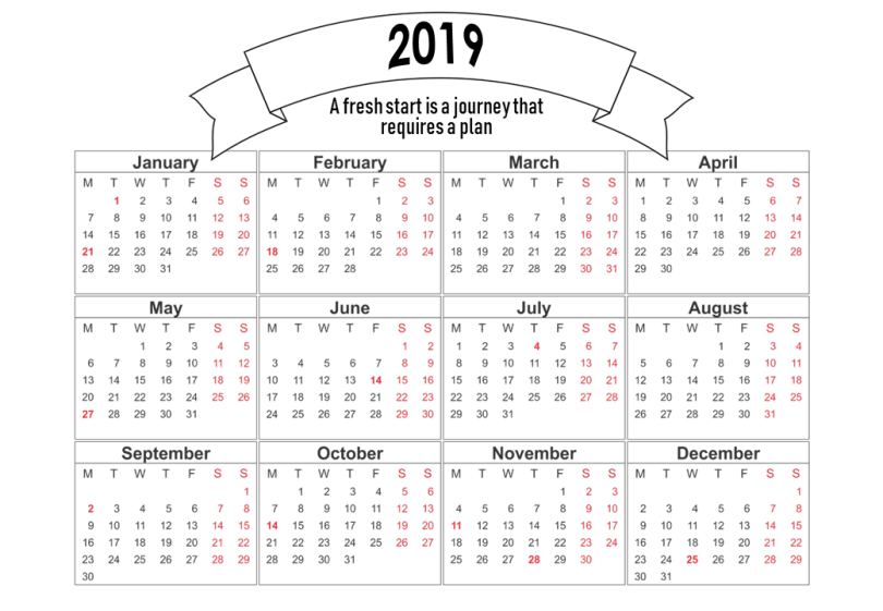 Free Printable Calendars 2019 for a Successful Start to Your