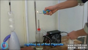 A cigarette being lit in a homemade apparatus to show what smokers inhale when smoking.
