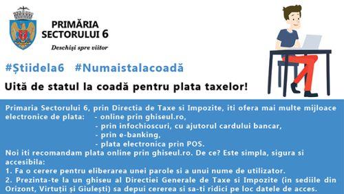 Mijloace electronice de plată a impozitelor şi taxelor locale in Sectorul 6
