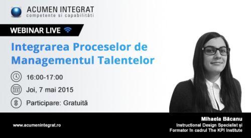 Webinar gratuit – Integrarea Proceselor de Management al Talentelor