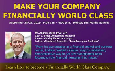 Learn from his two decades experience as financial analyst and business owner. Andrew has created a simple, easy to understand, comprehensive way to get any management team focused on the financial measures that matter. Andrew Stotz, CFA has lived in Thailand since 1992 and has been a university lecturer and equity analyst since 1993. He graduated with a BS. in finance and an MBA from California State University. Andrew was a strategist for Maybank Kim Eng Securities (Thailand) and previously was the head of research at CLSA Thailand. As a stock market analyst since 1993 Andrew has written thousands of pages of equity strategy and company research. He has spent the last six years managing research teams in Thailand and has written strategy regularly during that time. He was voted #1 analyst in Thailand in the Asiamoney Brokers Poll 2009 and 2008 and also was voted #1 analyst in Thailand in the 2009 Institutional Investor Magazine All-Asia Research Team Report. Meanwhile his research team at CLSA Thailand was voted number one in both of the above surveys and also in the 2009 Greenwich client survey. Andrew has been a part time lecturer in finance for 19 years at various universities in Thailand. Additionally he is vice president of the CFA Society of Thailand. Andrew is the finance director and co-owner of CoffeeWorks Co. Ltd., Thailand's leading specialty coffee roaster since 1995.