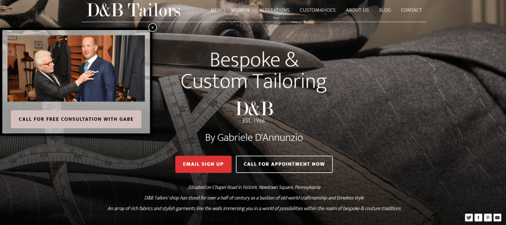 D&B Tailors Website Design