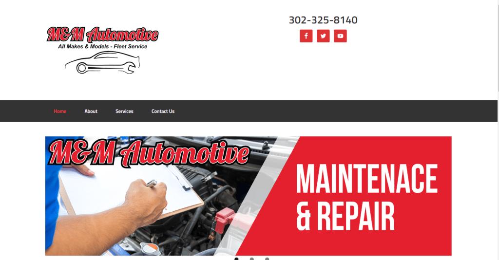 M & M Automotive Website Design