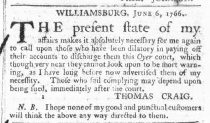Jun 14 - 6:13:1766 Virginia Gazette
