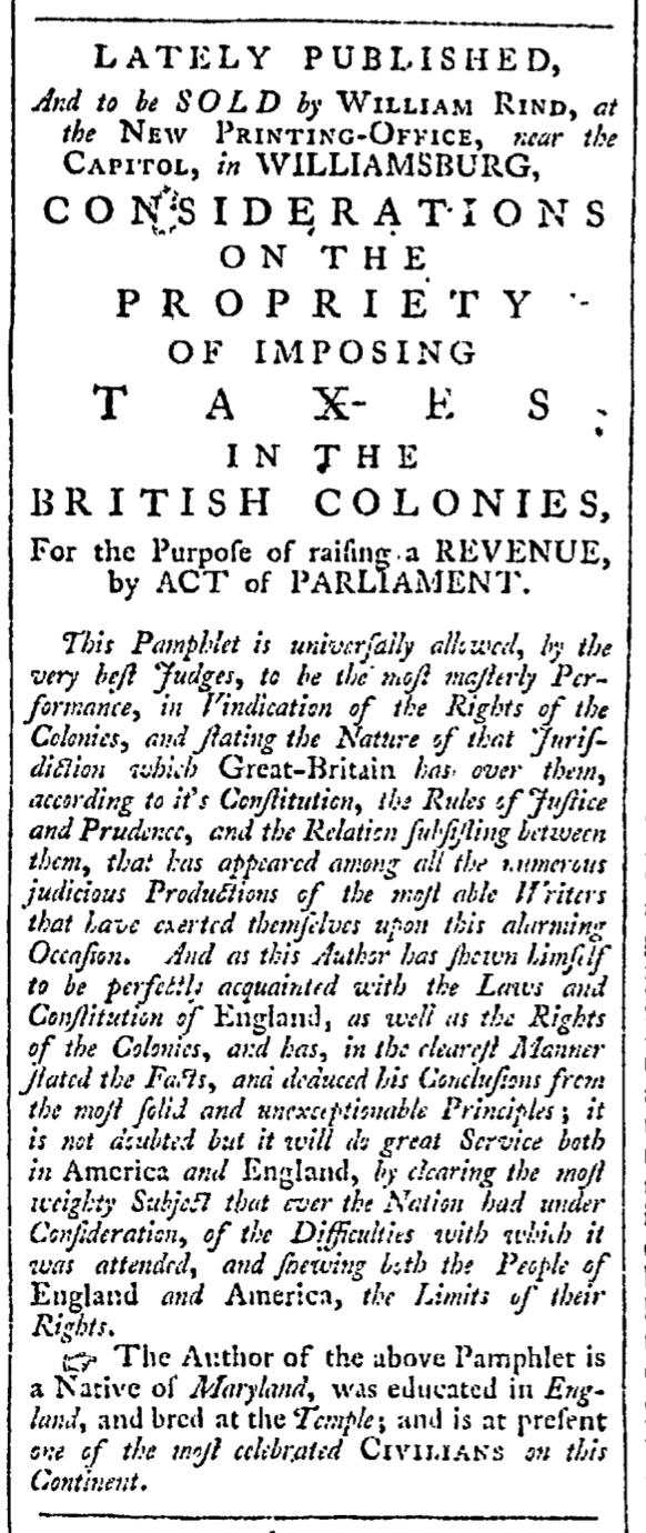 May 16 - 5:16:1766 Rind's Virginia Gazette