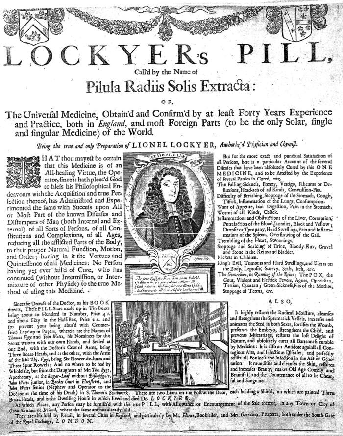 L0002420 Broadsheet advertsing L.Lockyer's patent medicine