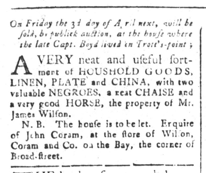 Mar 27 - South-Carolina and American General Gazette Slavery 1