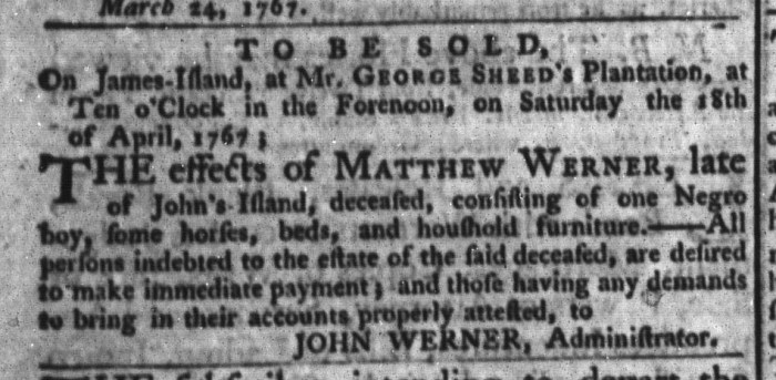 Mar 31 - South-Carolina Gazette and Country Journal Slavery 8