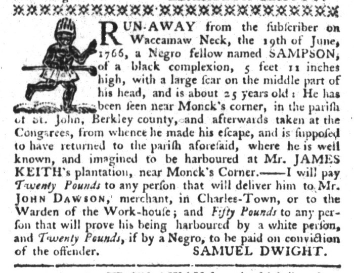 Mar 31 - South-Carolina Gazette and Country Journal Supplement Slavery 12