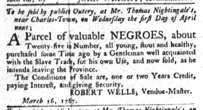 Mar 31 - South-Carolina Gazette and Country Journal Supplement Slavery 5