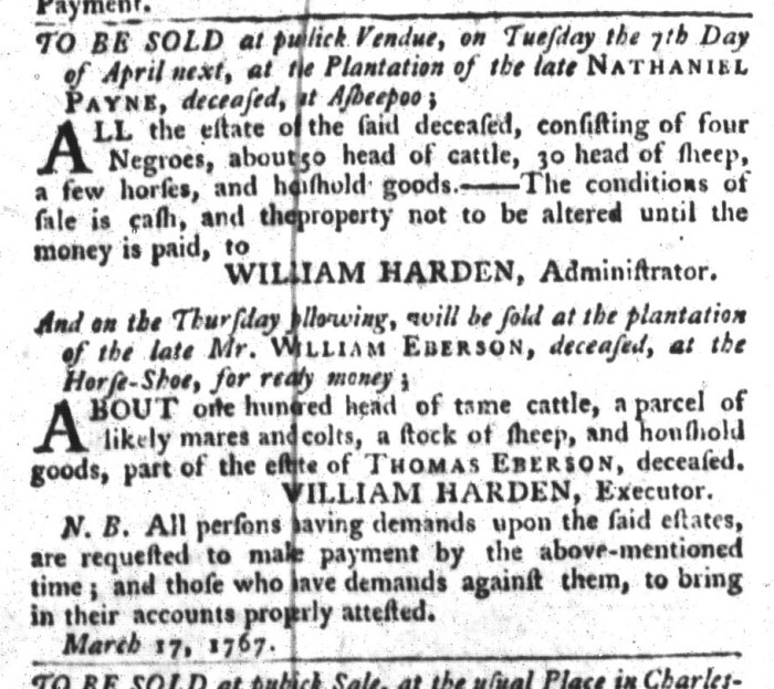 Mar 31 - South-Carolina Gazette and Country Journal Supplement Slavery 8