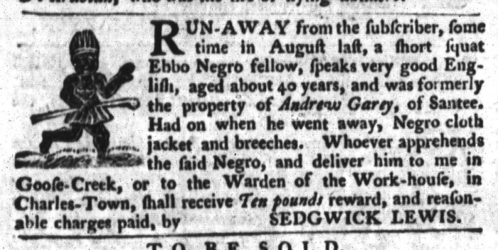 Apr 14 - South-Carolina Gazette and Country Journal Supplement Slavery 3