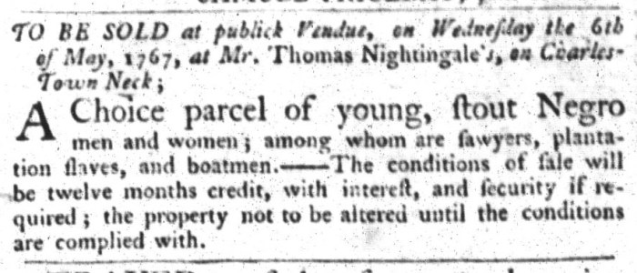 Apr 21 - South-Carolina Gazette and Country Journal Slavery 4