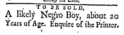 Apr 27 - Boston Evening-Post Supplement Slavery 1