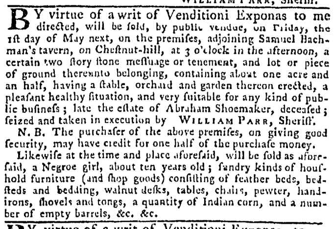 Apr 30 - Pennsylvania Gazette Slavery 1
