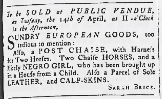 Apr 9 - Maryland Gazette Slavery 1