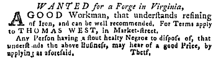 Jun 4 - Pennsylvania Gazette Supplement Slavery 1