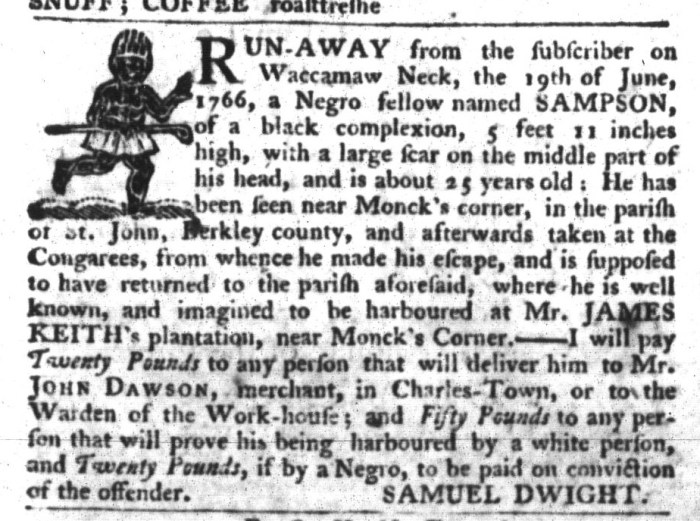 May 26 - South-Carolina Gazette and Country Journal Supplement Slavery 3