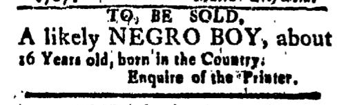 May 29 - New-London Gazette Slavery 1