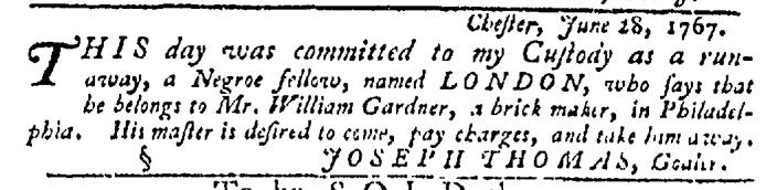 Jul 2 - Pennsylvania Gazette Slavery 1