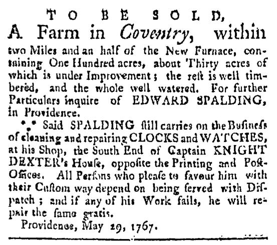 Jun 20 - 6:20:1767 Providence Gazette