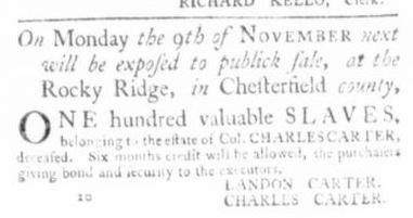 Jun 25 - Virginia Gazette Slavery 1