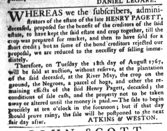 Aug 4 - South-Carolina Gazette and Country Journal Slavery 6
