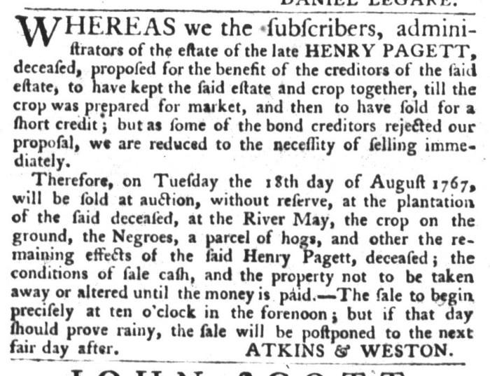 Jul 28 - South-Carolina Gazette and Country Journal Slavery 1